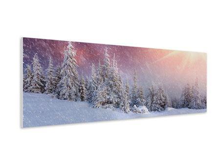 Hartschaumbild Panorama Mystischer Schneesturm
