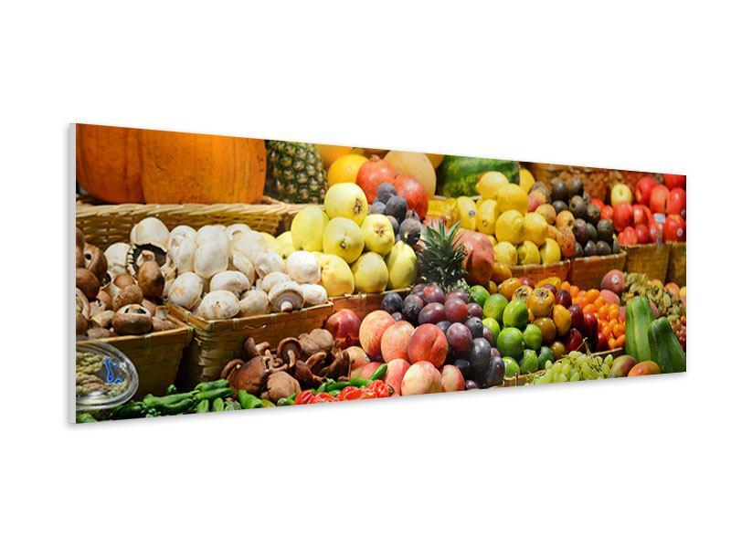 Hartschaumbild Panorama Obstmarkt