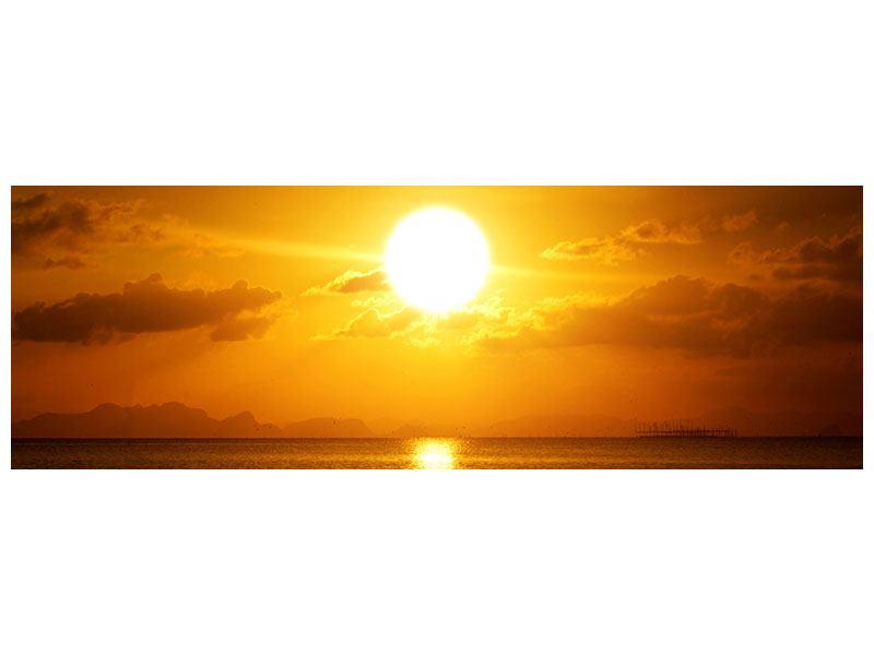 Hartschaumbild Panorama Sonnenuntergang See