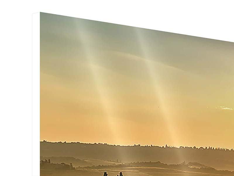 Hartschaumbild Panorama Sonnenuntergang im Gebirge