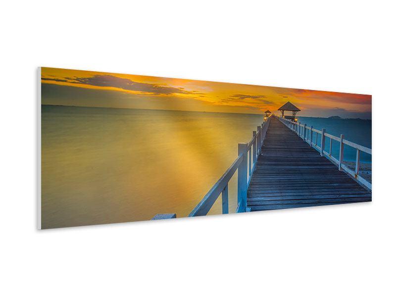 Hartschaumbild Panorama Eine Holzbrücke im fernen Osten