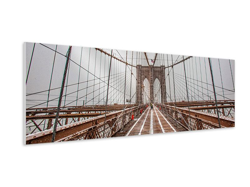 Hartschaumbild Panorama Auf der Brooklyn Bridge