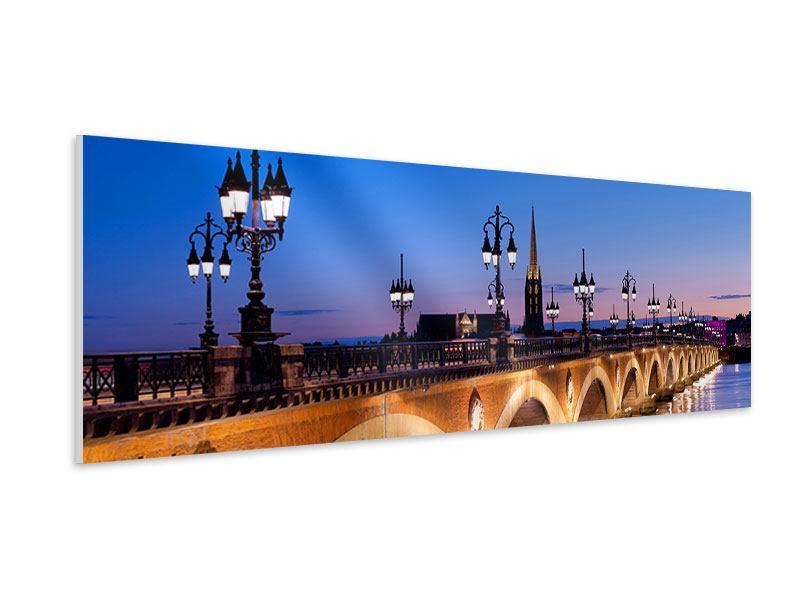 Hartschaumbild Panorama Pont De Pierre bei Sonnenuntergang