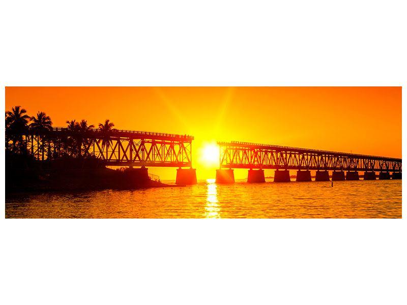 Hartschaumbild Panorama Sonnenuntergang an der Brücke