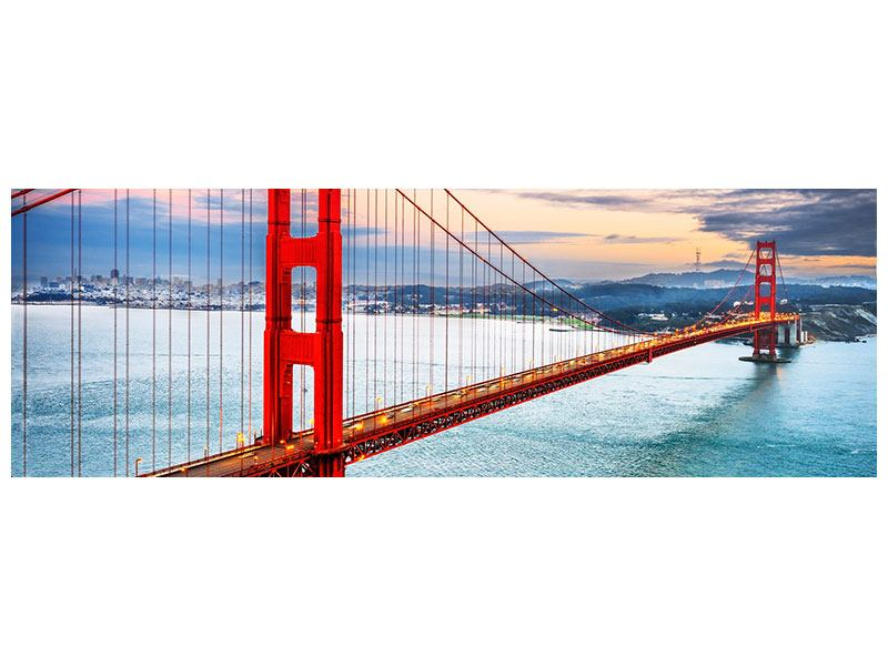 Hartschaumbild Panorama Der Golden Gate Bridge bei Sonnenuntergang