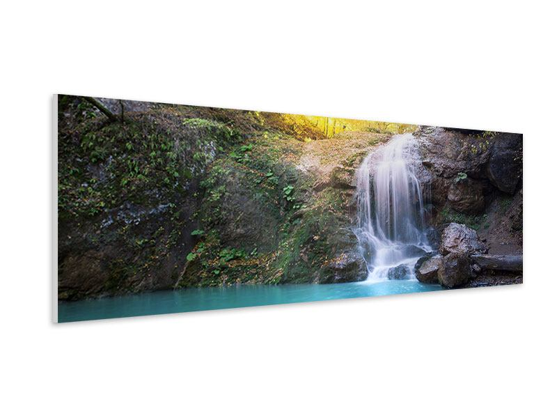 Hartschaumbild Panorama Fliessender Wasserfall