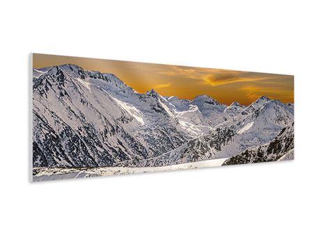 Hartschaumbild Panorama Sonnenuntergang in den Bergen
