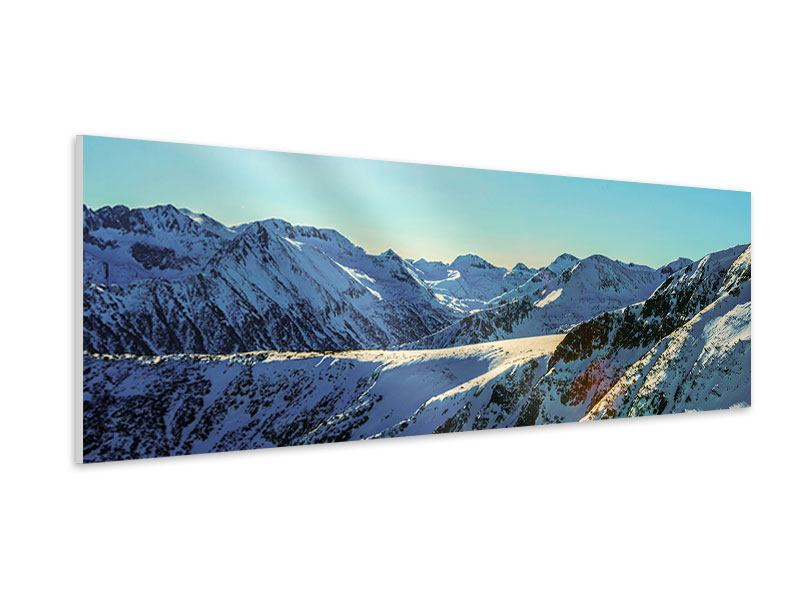 Hartschaumbild Panorama Sonnige Berggipfel im Schnee
