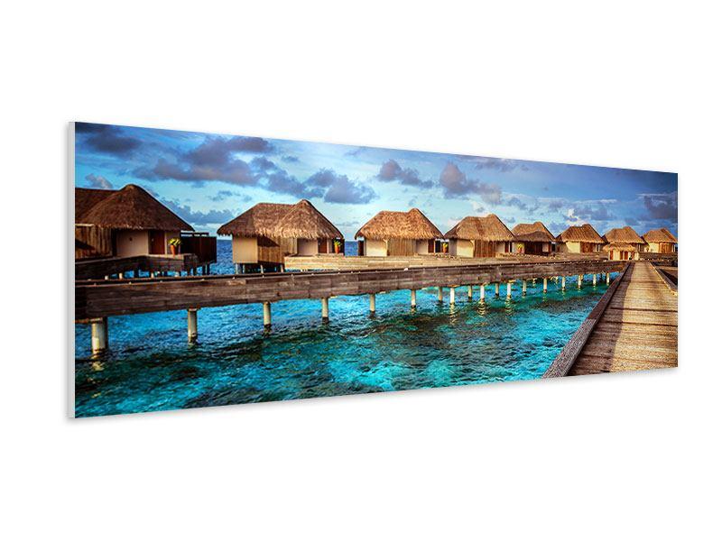 Hartschaumbild Panorama Traumhaus im Wasser