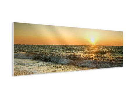 Hartschaumbild Panorama Sonnenuntergang am Meer