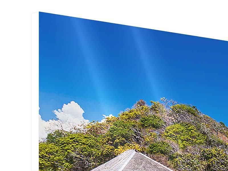 Hartschaumbild Panorama Das Haus am Strand