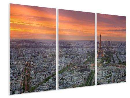 Hartschaumbild 3-teilig Skyline Paris bei Sonnenuntergang