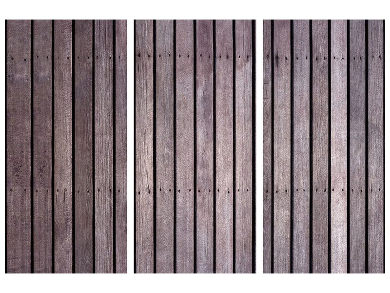 Hartschaumbild 3-teilig Holzwand