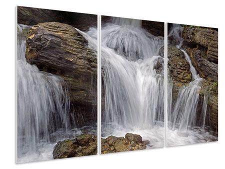 Hartschaumbild 3-teilig Wasserfall XXL