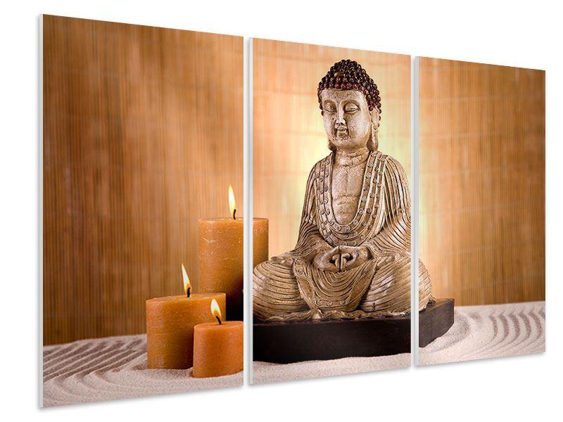 Hartschaumbild 3-teilig Buddha in der Meditation