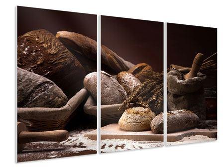 Hartschaumbild 3-teilig Brotbäckerei