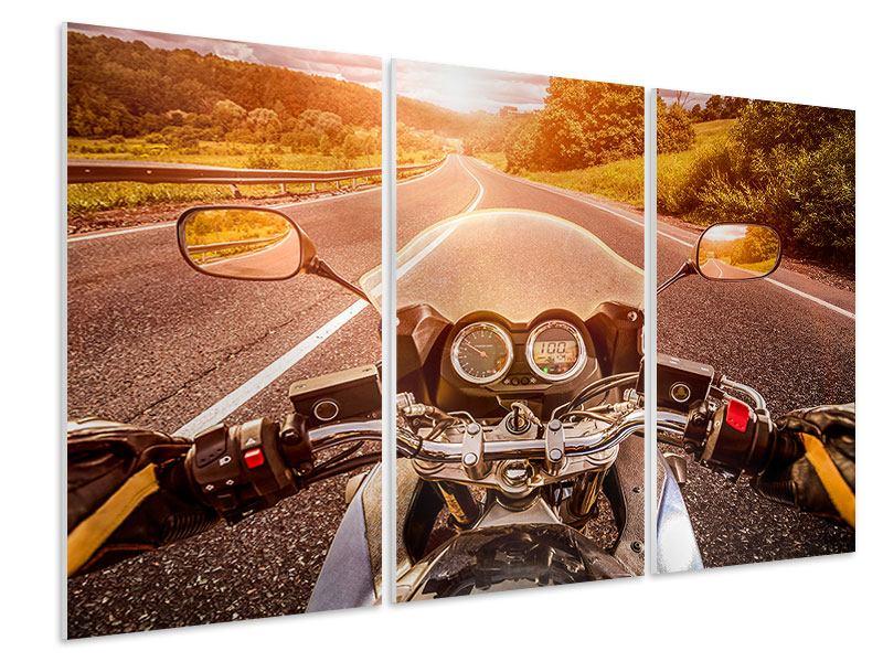 Hartschaumbild 3-teilig Motorrad-Tour