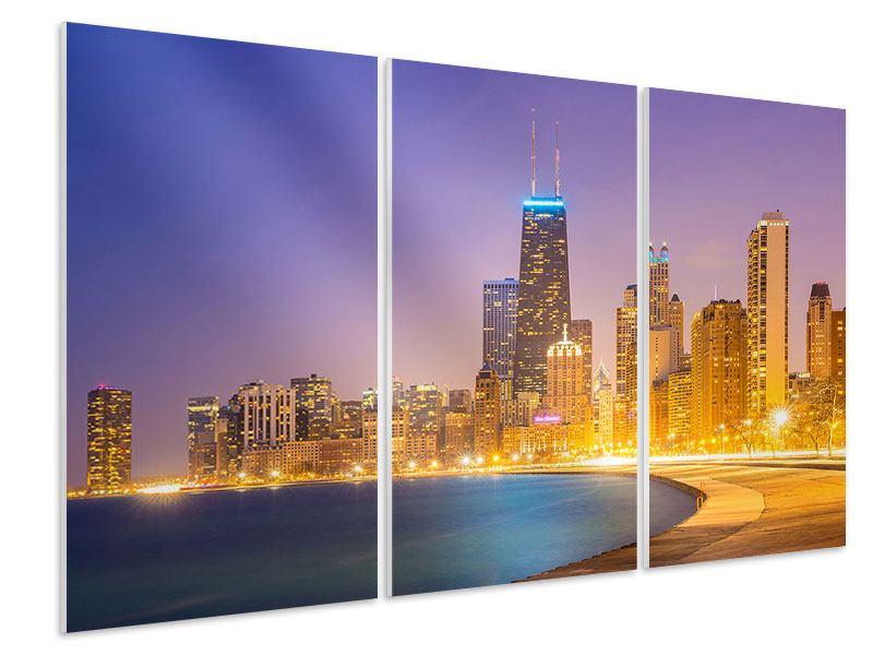 Hartschaumbild 3-teilig Skyline Chicago in der Nacht
