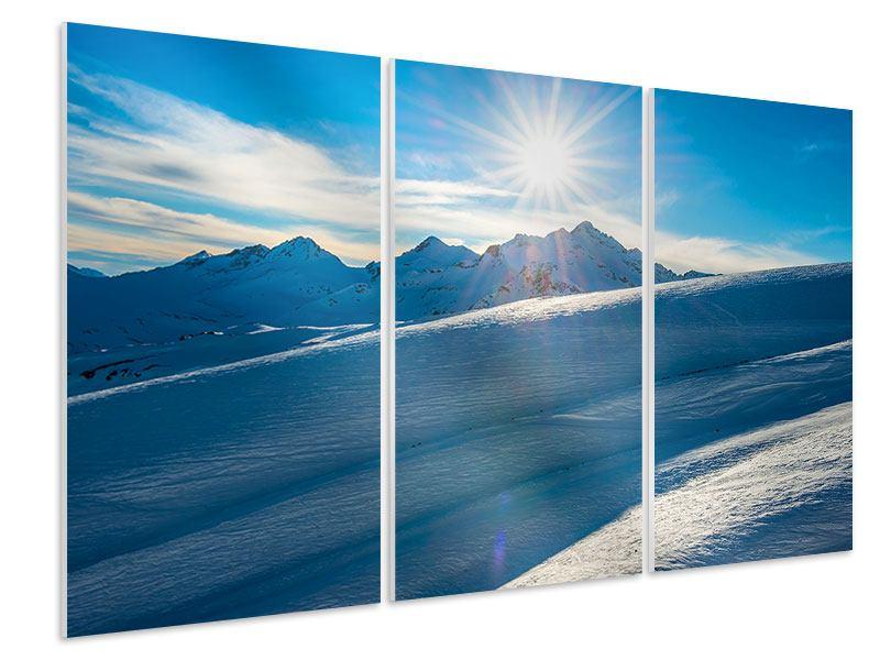 Hartschaumbild 3-teilig Ein Wintermärchen in den Bergen
