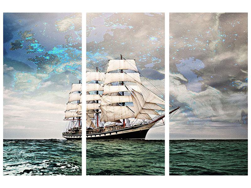 Hartschaumbild 3-teilig Segelschiff