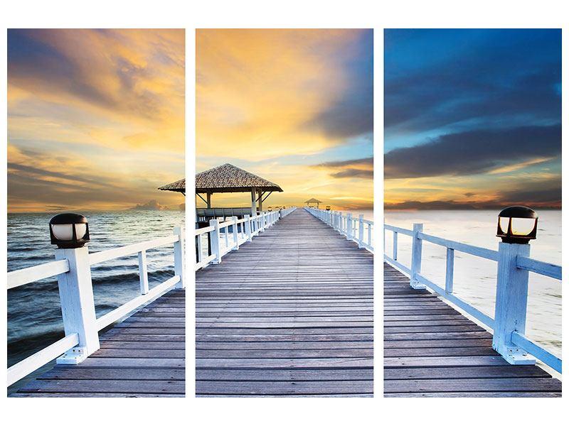 Hartschaumbild 3-teilig Die Brücke ins Meer