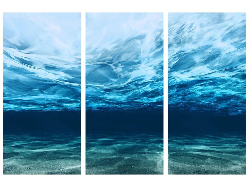 Hartschaumbild 3-teilig Lichtspiegelungen unter Wasser