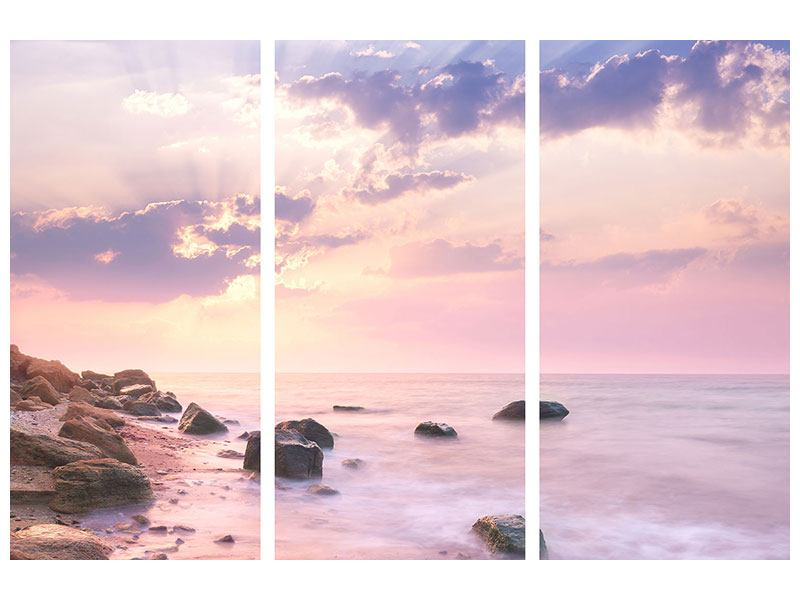 Hartschaumbild 3-teilig Sonnenaufgang am Meer