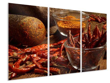 Hartschaumbild 3-teilig Chili