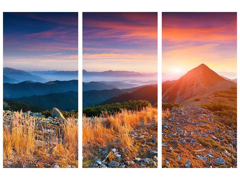 Hartschaumbild 3-teilig Sonnenuntergang in den Alpen