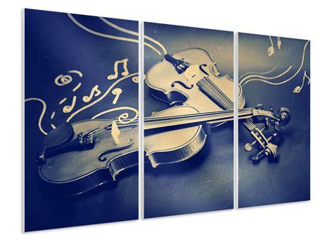 Hartschaumbild 3-teilig Geigen