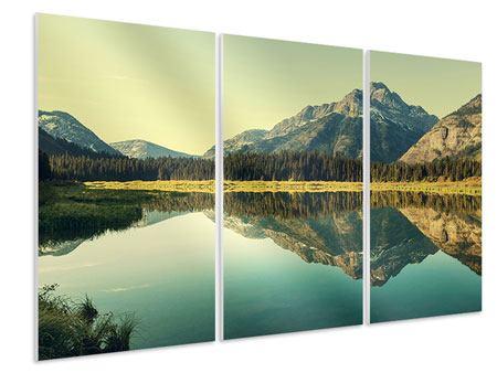 Hartschaumbild 3-teilig Der Bergsee