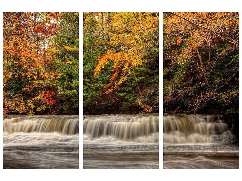Hartschaumbild 3-teilig Herbst beim Wasserfall