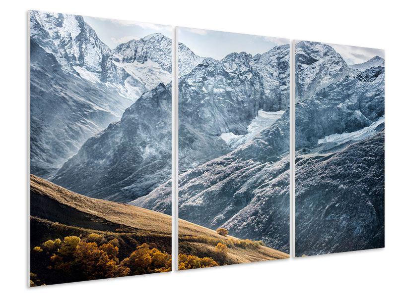 Hartschaumbild 3-teilig Gigantische Berggipfel