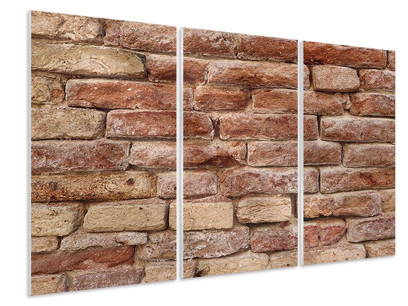 Hartschaumbild 3-teilig Loft-Mauer