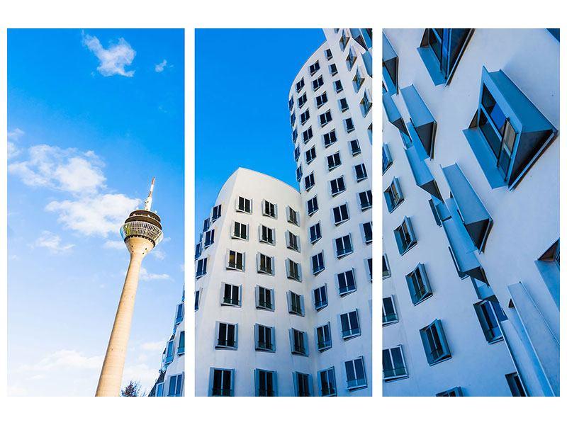 Hartschaumbild 3-teilig Neuer Zollhof Düsseldorf