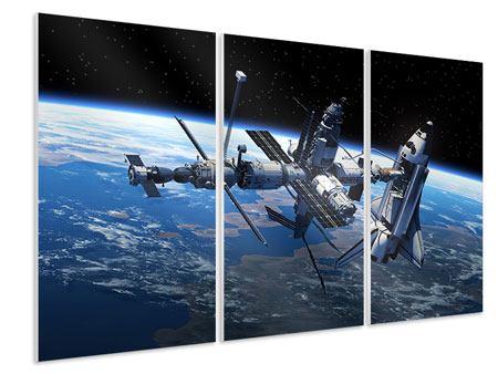 Hartschaumbild 3-teilig Satellit