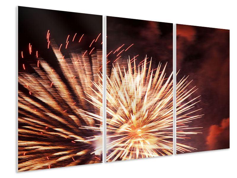 Hartschaumbild 3-teilig Close Up Feuerwerk