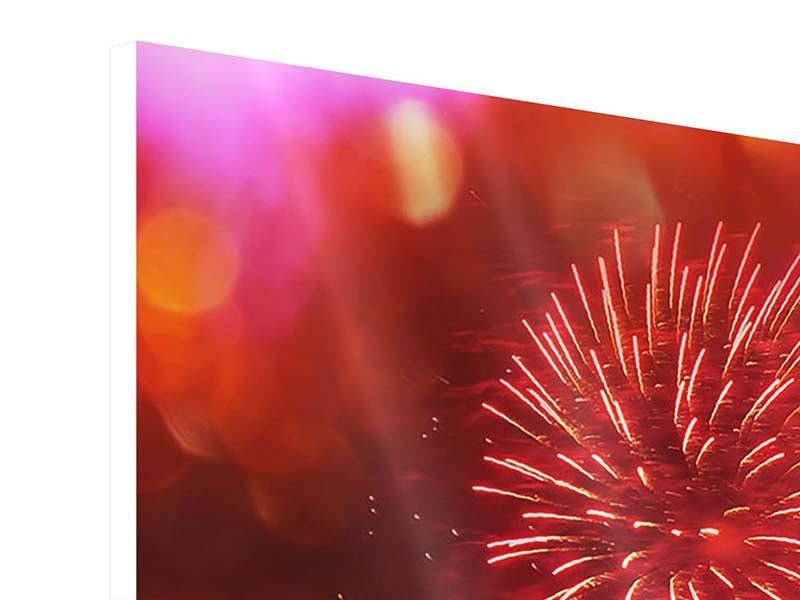 Hartschaumbild 3-teilig Buntes Feuerwerk