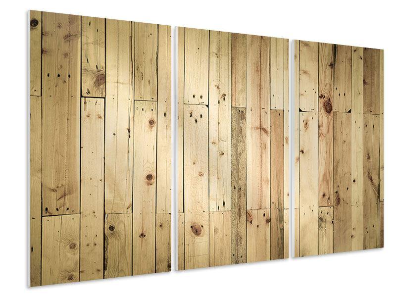 Hartschaumbild 3-teilig Holzpaneelen