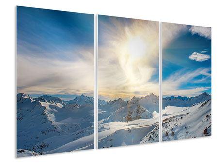 Hartschaumbild 3-teilig Über den verschneiten Gipfeln