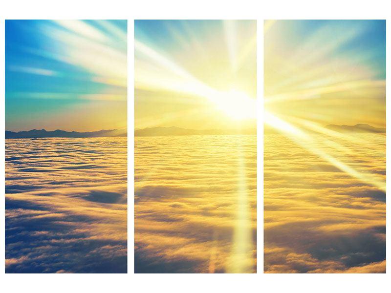 Hartschaumbild 3-teilig Sonnenuntergang über den Wolken