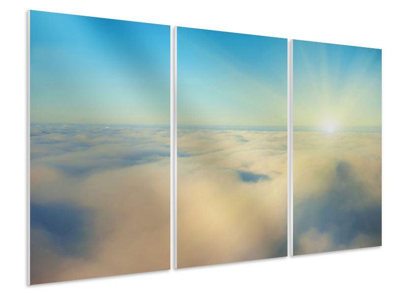 Hartschaumbild 3-teilig Dämmerung über den Wolken