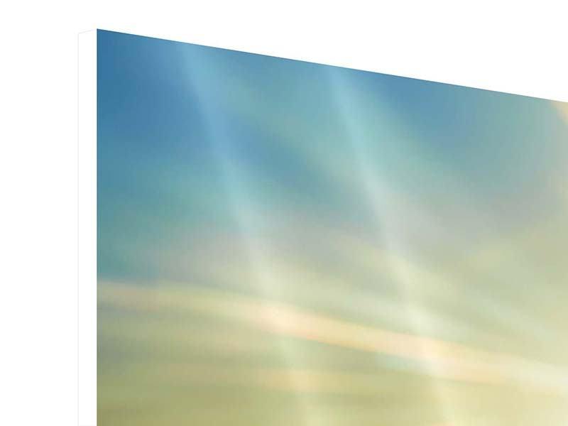 Hartschaumbild 3-teilig Sonnenaufgang über den Wolken