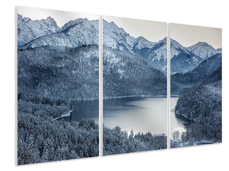 Hartschaumbild 3-teilig Schwarzweissfotografie Berge