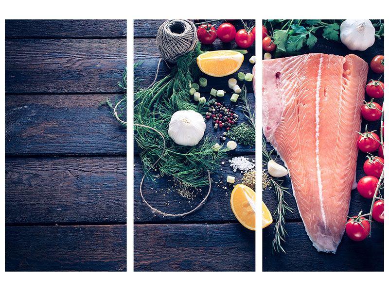 Hartschaumbild 3-teilig Fangfrischer Fisch