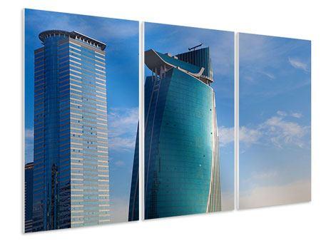 Hartschaumbild 3-teilig Zwei Wolkenkratzer