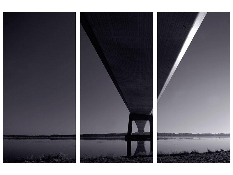 Hartschaumbild 3-teilig Die Brücke über tiefes Wasser