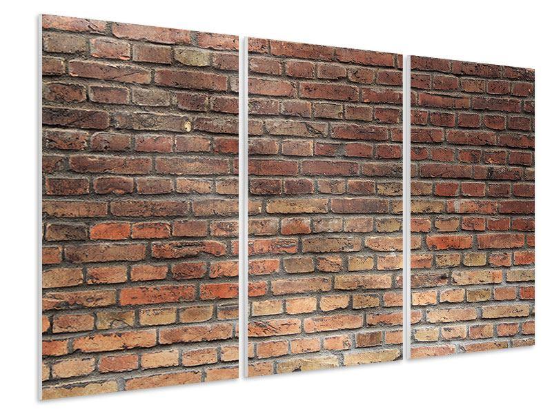 Hartschaumbild 3-teilig Brick Wall