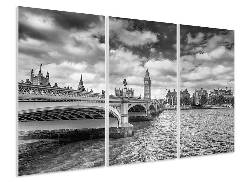 Hartschaumbild 3-teilig Westminster Bridge