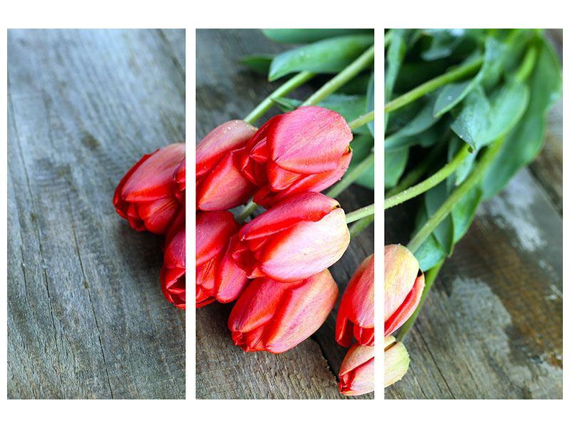 Hartschaumbild 3-teilig Der rote Tulpenstrauss